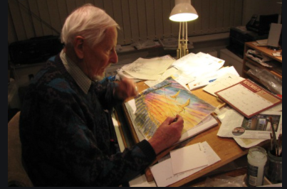 Illustrator legend Denys Ovenden at work